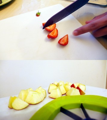 Meanwhile, you could've prepared your fruit. :P Cut everything into bite-sized pieces. I left the grapes whole.