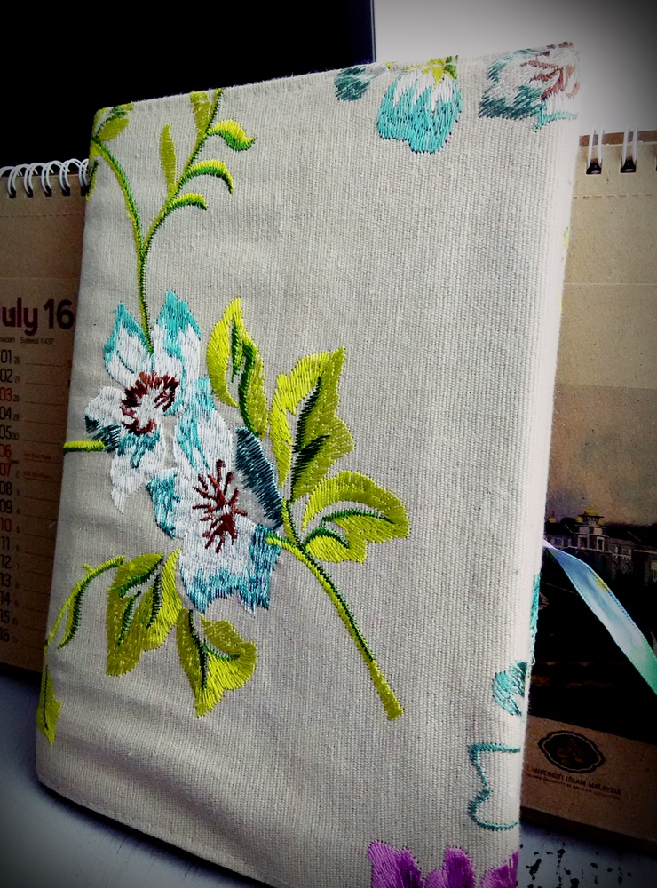 I used a beautiful fabric-covered notebook which was an old gift!