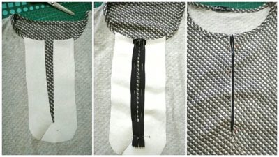 Stitching the zipper